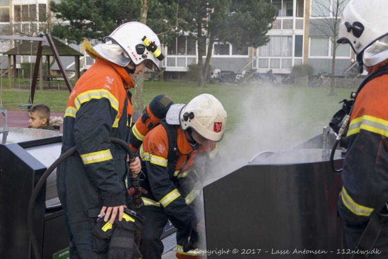 Brand i nedgravet container på Motalavej i Korsør.