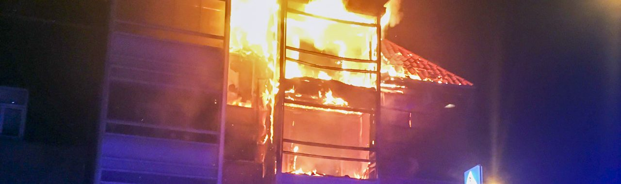 Brand i etageejendom i Slagelse.