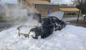 Mercedes udbrændte i Slagelse.