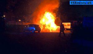 Bil sat i brand i korsør
