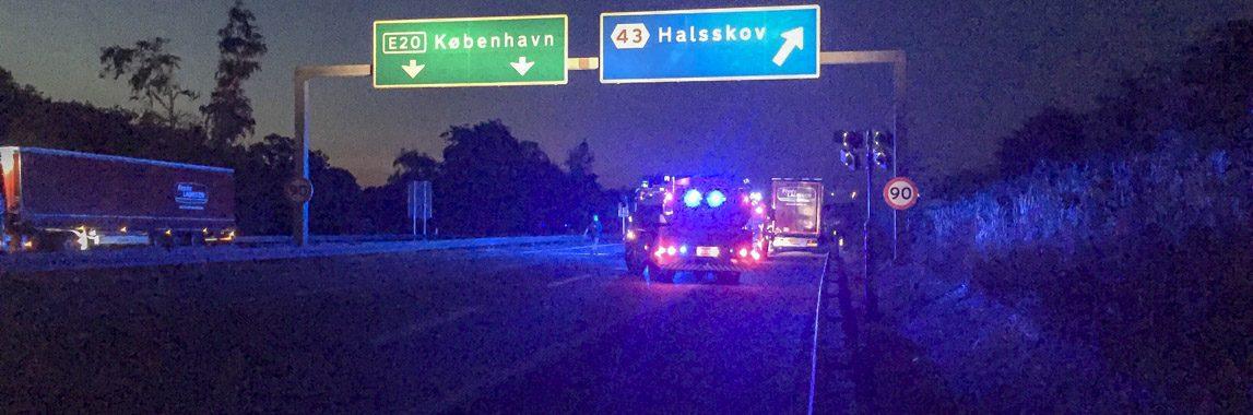 brand i lastbil på Vestmotorvejen ved Halsskov