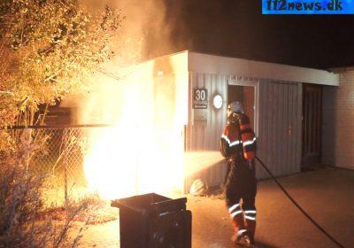 brand i container ved værested i Korsør