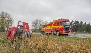 Lastbil væltet på vestmotorvejen ved Korsør