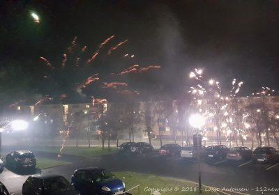 Fyrværkeri på Motalavej i Korsør nytåret 2018-2019