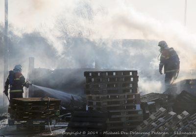 Brand i 150 paller på genbrugsstation i Skælskør