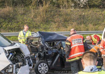 Voldsomt harmonikasammenstød på vestmotorvejen mellem Slagelse og Sorø