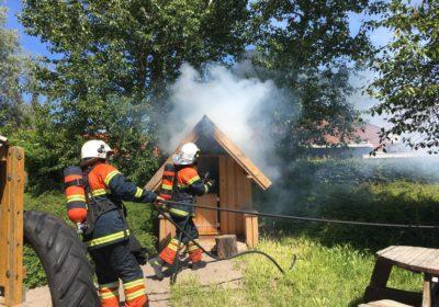 påsat brand i legehus i børnehaven loppen på Birkemosevej i Korsør