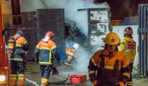Brand i container på Affald Plus genbrugsstation i Korsør