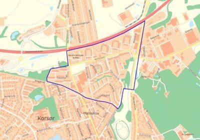 Kort over visitations- og straftzone omkring Motalavej i Korsør